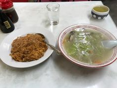 Pork rice and vegetable soup