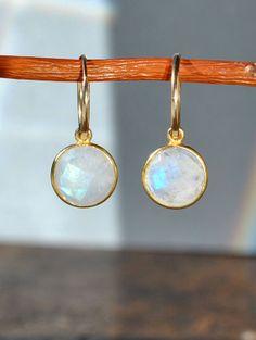 Rainbow Moonstone Earrings  June Birthstone by MamacitaStudios, $45.00