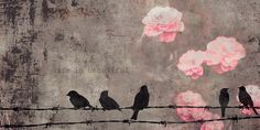 art with birds. canvas art in brown with cerise flowers. www.desenio.se