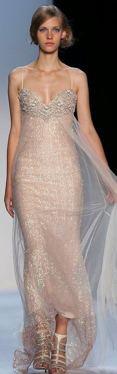 Badgley Mischka Spring 2014 RTW what a perfect vow renewal dress! Dior Couture, Couture Fashion, Runway Fashion, Couture Dresses, Beautiful Gowns, Beautiful Outfits, Mode Rose, Moda Fashion, Women's Fashion