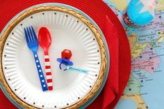 July 4th party: use craft punch for plate, punch shapes from adhesive foam paper for stars and stripes on utensils