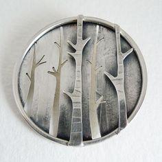 Becky Crow, Birch Forest brooch, Sterling