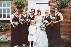 Black Bridesmaid Dresses   Grey Vera Wang Wedding Dress   Cooling Castle Barn   Winter Wedding   Lemonade Pictures   http://www.rockmywedding.co.uk/joey-nick/