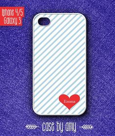 Personalized heart iPhone 5 Case, iphone 4/4s case or Samsung Galaxy S3 case - personalized phone case - $16.80  at http://casebyamy.etsy.com