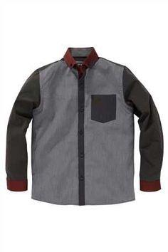 Grey And Plum Colour Block Shirt