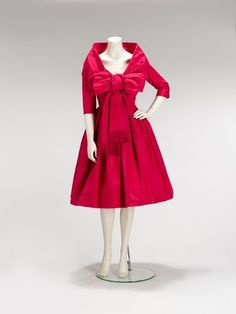 Christian Dior shocking pink party dress Autumn 1958