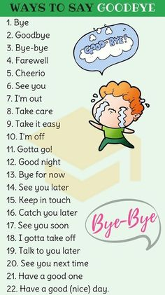 23 Ways to Say Goodbye in English How to Say Goodbye in English! List of other ways to say goodbye in English with example sentences and ESL pictures. Learn these goodbye synonyms to improv English Sentences, English Vocabulary Words, Learn English Words, English Phrases, English Idioms, English Posters, Learn English Speaking, English Learning Spoken, Teaching English Grammar