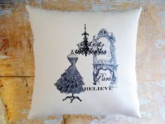 French Country Pillow Paris Dress Chandelier by parismarketplace, $18.00