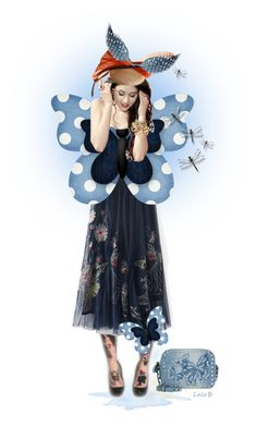"""""""Blue Butterfly Doll"""" by laila-bergan ❤ liked on Polyvore featuring art Blue Butterfly, Tulle, Hats, Skirts, Polyvore, Fashion, Moda, Hat, Skirt"""