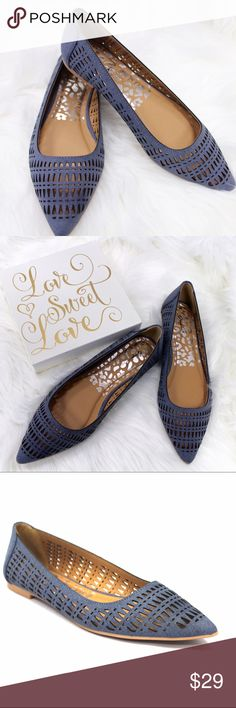 Denim Flat Ballet Cut Out Pointy Toe Blue Shoes ❗️PRICE IS FIRM for all items under $25❗️🐞Brand New🐞So Comfy and So Casual🐞sizes  7.5 and 8 available🐞Vegan Materials🐞True to size🐞www.thefairyden.com🐞ask for promo codes! Shoes Flats & Loafers