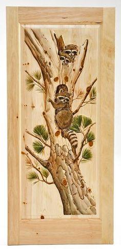 woodland creek furniture animal carved doors | Hand Carved Cabin Door with Raccoon's Climbing  Interior door 1,700