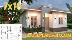 Simple House Design Plans with 3 Bedrooms Full Plans - House Plans House Roof Design, Flat Roof House, Simple House Design, Layouts Casa, House Layouts, Simple House Plans, Tiny House Plans, Bungalows, Three Bedroom House Plan