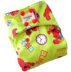 Sesame Street Elmo One Size Cloth Diaper with PUL Snaps - Newborn Toddler Boys Girls Gender Neutral