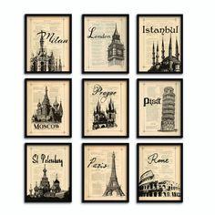 World map poster prints Giclee print London Paris by eebookprints, $59.99