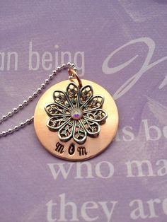 Mom Mixed Metal Hand Stamped Necklace by EnchantedObjects on Etsy, $22.00