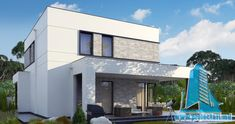 Proiect de casa cu doua etaje,acoperis plat si terasa de vara amenajata la sol -100960     Proiectari si Constructii Modern House Floor Plans, House Plans, House Front Design, New Homes, Flooring, Architecture, Outdoor Decor, Home Decor, Google