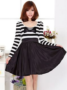 Wholesale Black White Stripe Bow Puff Sleeve Dress $23.28
