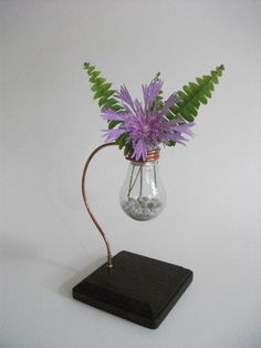 Very pretty -light bulb and copper stand . Awesome idea! Great way to recycle thos old light bulbs from around the house