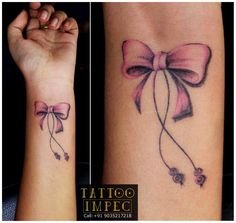# Bow tattoo # Cute # <3 ;)  Get inked from Experienced Tattoo Professional..  Call: Sunil C K @ +91 9035217218 to book your appointment. www.facebook.com/tattooimpec