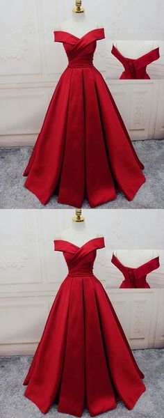 Red Prom Dresses Off-the-shoulder, Ball Gown Party Dresses Satin, Sweep Train Sashes / Ribbons Formal Dresses H0082