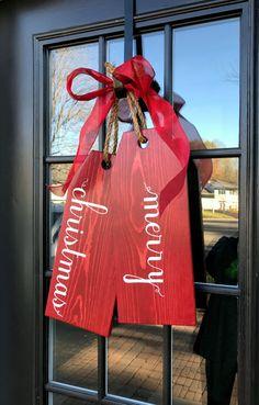 Large Wood Tags Door Hanger Door Tags Merry Christmas