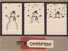 Way too fun! It's Snow Time - Christmas card by jenaye - Cards and Paper Crafts at Splitcoaststampers kids paint artlesson bildlektion snögubbe snowman winter vinter årstid Homemade Christmas Cards, Homemade Cards, Christmas Christmas, Xmas Cards, Greeting Cards, Holiday Cards, Karten Diy, Snowman Cards, Shaker Cards