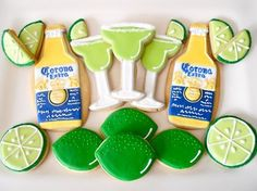 Corona and lime frosted sugar cookies. Totally need these for Geralds birthday!!