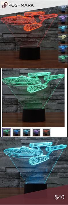LED Star Trek USS Enterprise Night Light lamp Material: Arc Plate  Color: 7 Colors Change(Orange Green Blueness Blue White Yellow Purple)  Product Size:	 Giraffe Acrylic panel:10.07*3.34*0.15 inch/24.6*18.5*0.87cm	 ABS Base: 8.7*8.7*4.3cm/3.42*3.42*1.69inch  USB cable: 150cm/59inch  Weight: about 0.45kg/0.99 lb	 Package Include:  1x 3D Acrylic illusion Lamp  1x ABS Base  1X USB cable  1X Pretty Box  1X Instruction Manual  There is 2-3% difference according to manual measurement. Other