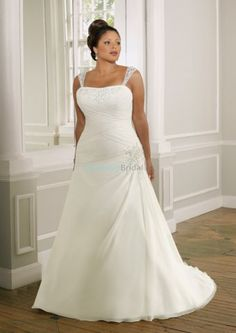 Plus size wedding dress with strapless neckline and chaple train. Delicate beading sparkles the wrapped bodice and side hip. Detachable shoulder straps and corset back finish this satin design. Free made-to-measurement service for any size. Available colors seen as in Color Options.