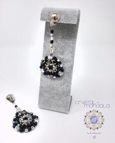 beaded necklace, Ciondolo Perline, Beading Pendant, bead embroidery - by #machegioia® - #crystal-mandala.com gioielli fatti a mano, gioielli con perline, gioielli in tessitura, gioielli su commissione