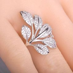 Exquisite Micro Pave Zircon Ring Tree Flower Leaf Shape Rings For Women Copper 18K Gold Plated Elegant Party Anillos Bijouterie