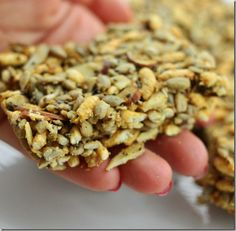 No bake savoury sweet snack bars with chia seeds, almonds and rice.