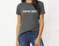 A personal favorite from my Etsy shop https://www.etsy.com/listing/508844418/game-day-shirt-game-day-muscle-tankgame