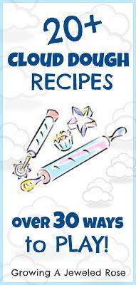 Cloud Dough. 20 recipes & play ideas
