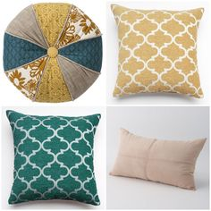 New color palette picked out for the living room. Turquoise, golden yellow, dark brown and beige. I'm liking these pillows from Target and Kohls for our dark brown leather couch.