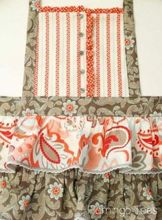 Ruffles & Buttons Apron tutorial from Flamingo Toes ~ what's not to like on this?  CUTE.  I would add a pocket of some sort, as I love pockets!  GREAT way to use up my scrappy fabrics!