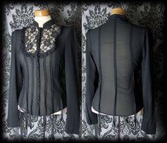Gothic Black Lace Bib VICTORIAN GOVERNESS High Neck Panel Blouse 6 8 Vintage - £29.00