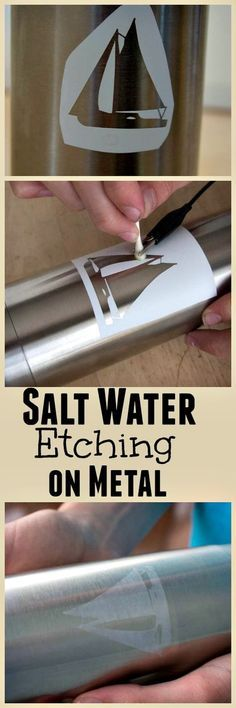 Personalize your water bottle with salt water etching - an easy DIY technique that allows you to etch metal with basic household supplies. #Tips4Trips [ad]