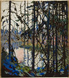 "Tom Thomson  born Claremont, Ontario, 1877; died Canoe Lake (Algonquin Park), Ontario, 1917    Study for ""Northern River"", 1914 - 1915  gouache, brush and ink over graphite on illustration board  30.0 x 26.7 cm  Purchase, 1982"