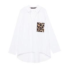 Zara Poplin Leopard Pocket Shirt