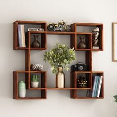 Buy Grizzo Wall Shelf (Honey Finish) Online in India - Wooden Street Unique Wall Shelves, Home Decor Shelves, Wooden Wall Shelves, Wall Shelf Decor, Wooden Wall Decor, Wall Bookshelves, Wall Shelves Design, Decorative Wall Shelves, Living Room Partition Design