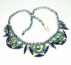 Vintage Necklace Juliana Style Peacock Rhinestone by zephyrvintage, $59.00