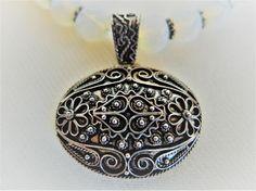 Gemstone Sterling Silver Necklace Gemstone Pendant Vintage