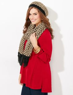Snowflake Beret | Catherines Cover yourself in softness with this cozy knit beret. We love the unique pattern that shimmers with metallic yarn. Adds a little extra personality to whatever you wear. Catherines scarves and wraps are fully fashioned to flatter the plus size figure. #catherines #plussize #winter #snowflake #beret