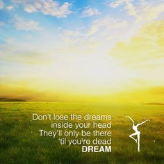 Don't lose the dreams inside your head. They'll only be there 'til you're dead. DREAM