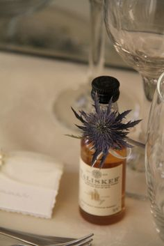 miniature bottles of whisky are always a favourite as a wedding favour - nice touch with the sea holly. Wedding Favours Scotland, Creative Wedding Favors, Inexpensive Wedding Favors, Wedding Bottles, Wedding Shower Favors, Wedding Favors For Guests, Wedding Ideas, Wedding Stuff, Party Favors