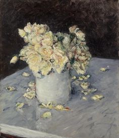 Gustave Caillebotte, Yellow Roses in a Vase (Roses jaunes dans un vase), 1882, oil on canvas, Dallas Museum of Art