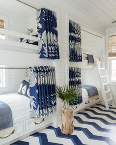 Why Your Beach House Floors Should Go Pattern-Wild (Hint: It's SO Worth It ) Bunk beds! By Homes Editor Ellen McGauley As clever design ideas go, patterned flooring in beach houses ranks right up there with bunk beds and outdoor showers. You can hide sand Bunk Rooms, 4 Bunk Beds, Adult Bunk Beds, Bunk Beds For Adults, Queen Bunk Beds, White Bunk Beds, Double Bunk Beds, Bunk Beds With Storage, Cool Bunk Beds