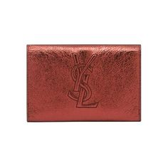 Ysl Coin Purse In Red Metallic Leather (£79) ❤ liked on Polyvore featuring bags, wallets, clutches, purses, wallet, women, coin pouch, leather card holder wallet, leather card case wallet and snap wallet
