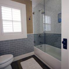 Bathroom Dark Wood Floors blue tile & glass door